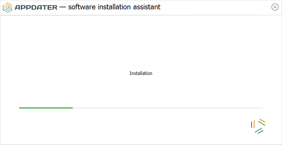 Installation process of software chosen on a site